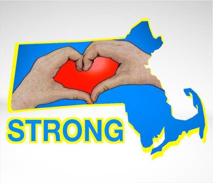 Image of state of Massachusetts with hands forming a heart and text; Strong