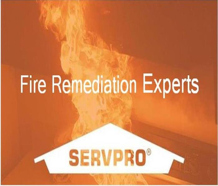 Image of a flame with SERVPRO Logo and text, Fire Remediation Experts